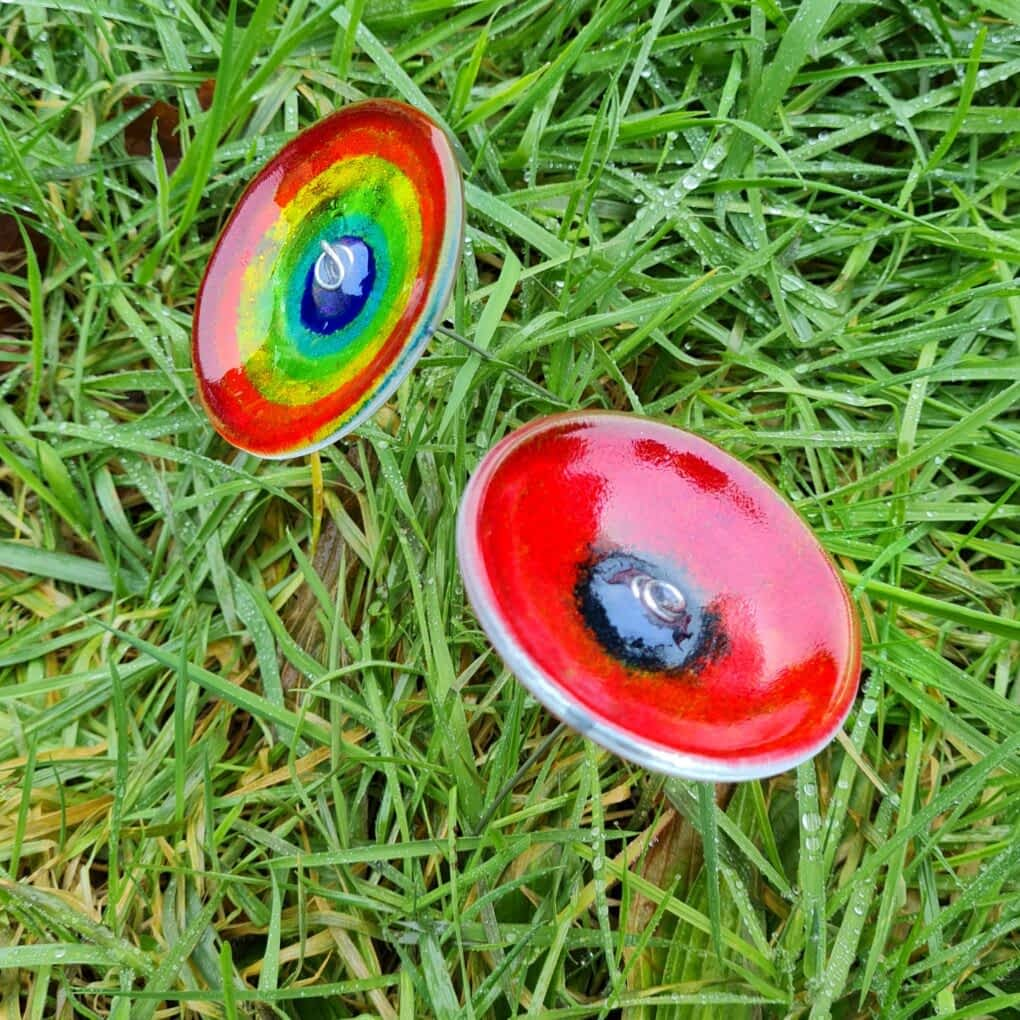 Fused Glass Poppy and Rainbow Flowers