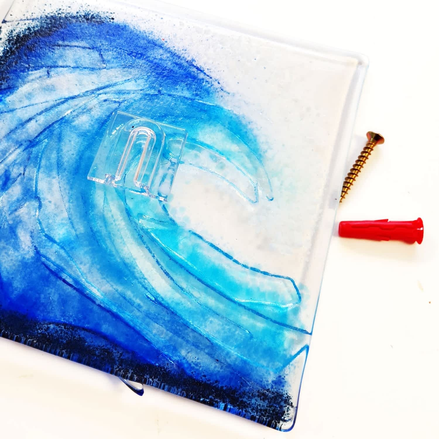 """Surf Ocean Sea Wave Break Tidal Glass hanging on a wall with an """"invisible"""" bail."""