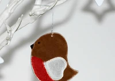 Glass Robin Decoration - Fused Glass by Rainbow Lux Glass
