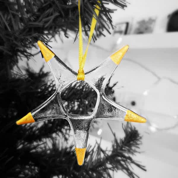 Gold Metallic Tip Glass Star Ornament by Rainbow Lux Glass