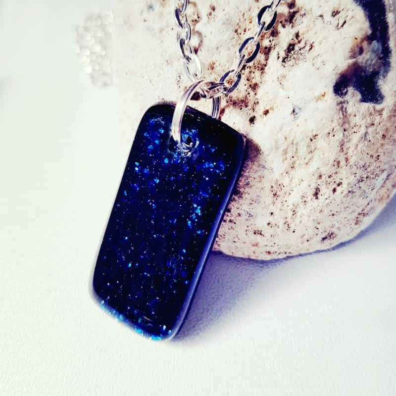 Blue sparkly necklace by Rainbow Lux Glass