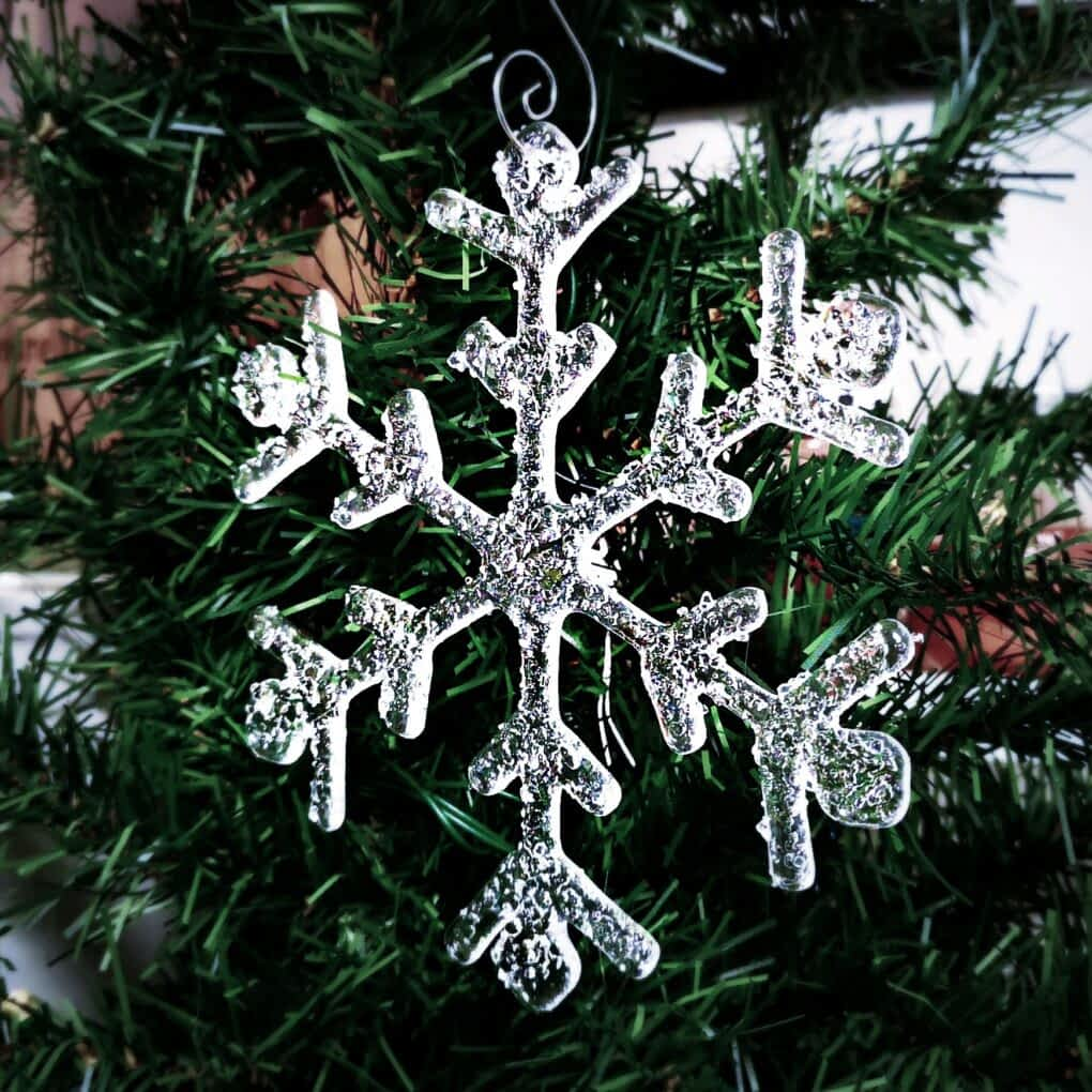 Clear Sparkly Snowflake Christmas Ornament Decoration