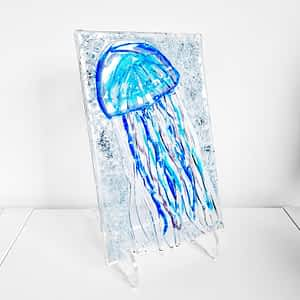 Blue Glass Jellyfish displayed on a clear stand (included)