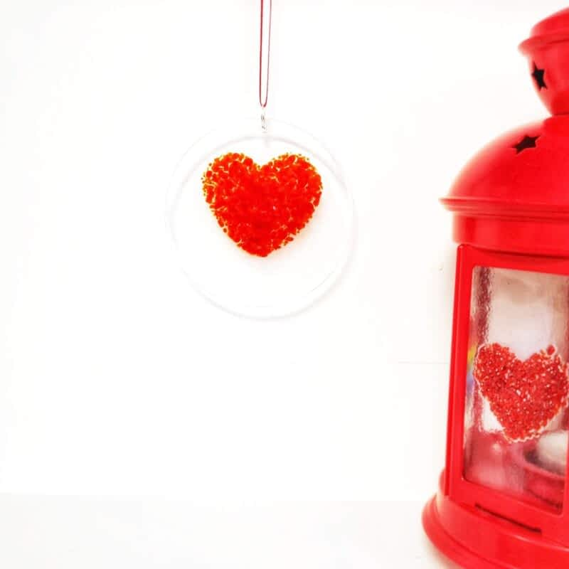 Red Glass Heart Personalised
