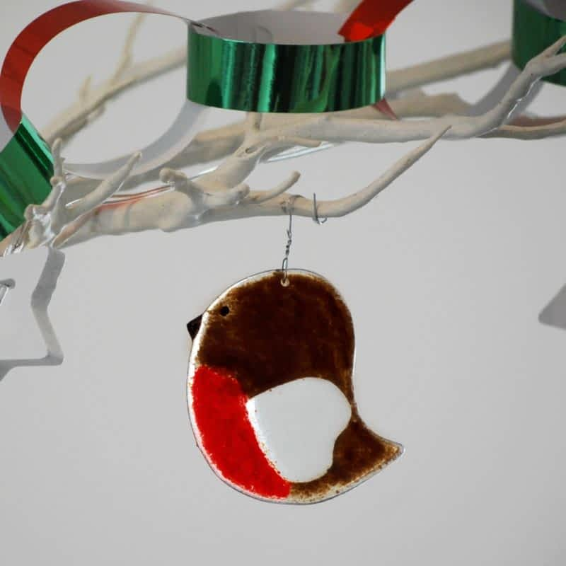 Robin Christmas Decoration - Fused Glass by Rainbow Lux Glass
