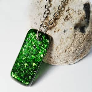Sparkly Green Necklace by Rainbow Lux Glass