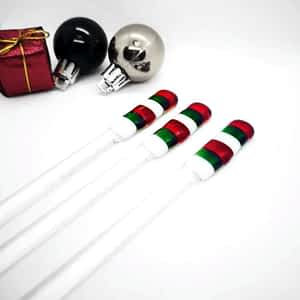 Red, green and white christmas swizzlesticks
