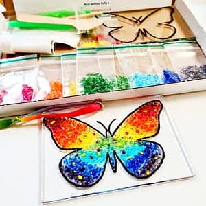 A Rainbow butterfly made out of glass