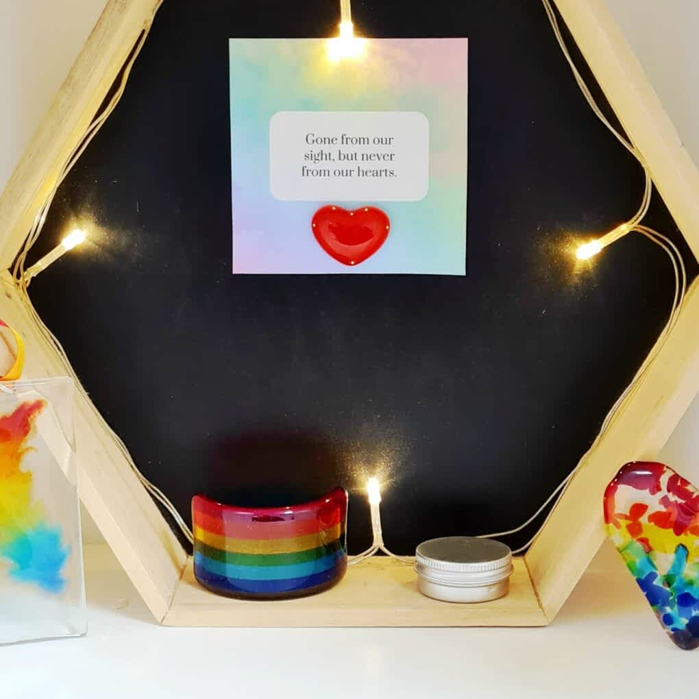 A stunning Rainbow Bridge Memorial with Cremation Ashes inside.