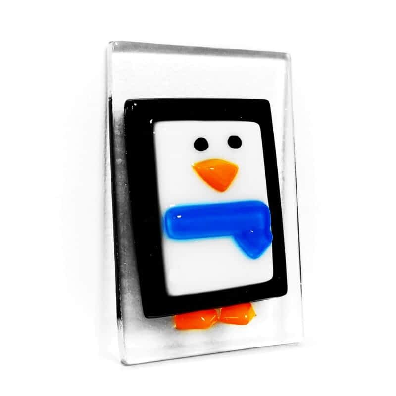 A black and white penguin small Christmas tree decoration with a blue scarf.