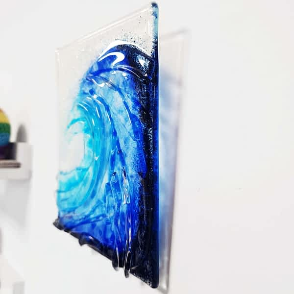Surf Ocean Sea Wave Break Tidal Glass hanging on a wall with an